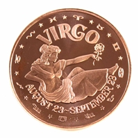 Pure Copper - Zodiac Virgo 1oz Fine Copper (No Tax)