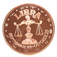 Pure Copper - Zodiac Libra 1oz Fine Copper (No Tax)