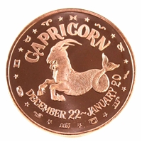 Pure Copper - Zodiac Capricorn 1oz Fine Copper (No Tax)