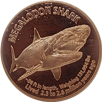 Pure Copper 1oz. .999 Fine - Megalodon (No Tax)