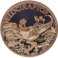 Pure Copper 1oz. .999 Fine - Dinosaurs - Velociraptor (No Tax)