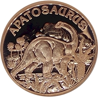Pure Copper 1oz. .999 Fine - Dinosaurs - Apatosaurus (No Tax)