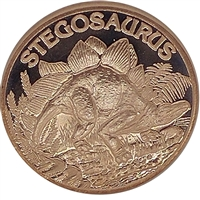 Pure Copper 1oz. .999 Fine - Dinosaurs - Stegosaurus (No Tax)