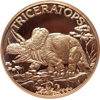 Pure Copper 1oz. .999 Fine - Dinosaurs - Triceratops (TAX Exempt)