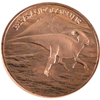 Pure Copper 1oz. .999 Fine - Dinosaurs - Parasaurolophus (TAX Exempt)