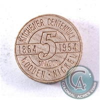 1854-1954 Kitchener's Centennial Wooden Nickel.