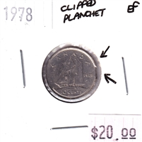 ERROR Clipped Planchet 1978 Canada 10-cents Extra Fine (EF-40)