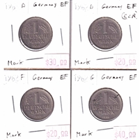 Lot of 4x Germany 1961-1962 1 Marks EF (scratched) 4pcs.
