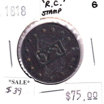 1818 RC Stamp USA Cent Good (G-4)
