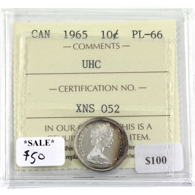1965 Canada 10-cent ICCS Certified PL-66 UHC