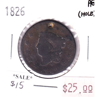 1826 USA Cent About Good (AG-3) hole