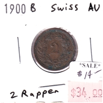 Swiss 1900 B 2 Rappen Almost Uncirculated (AU-50)