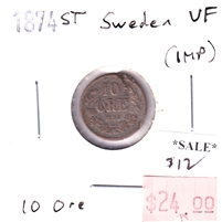 Sweden 1874ST 10 Ore Very Fine (VF-20) impaired