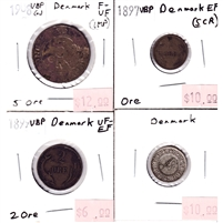 Lot of 4x Denmark 1897-1908 Love Token & 1-, 2-, & 5-Ore F-VF to EF (impaired) 4pcs