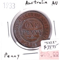 Australia 1933 Penny Almost Uncirculated (AU-50)
