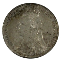 Great Britain 1892 Victoria Large Jubilee Head Shilling Almost Uncirculated (AU-50)