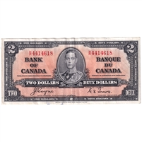 BC-22c 1937 Canada $2 Note, Coyne-Towers, K/R, VF-EF (ink)