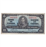 BC-23b 1937 Canada $5 Note Gordon-Towers W/C F-VF (tear)
