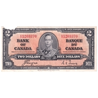 BC-22c 1937 Canada $2 Note Coyne-Towers VF-EF (damaged)