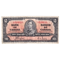 BC-22c 1937 Canada $2 Coyne-Towers, L/R VF (holes)