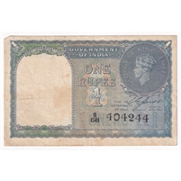 India Pick #25a 1940 1 Rupee, EF (stains)