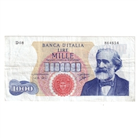 Italy Pick #96a 1962 1000 Lire Note, Very Fine (hole)