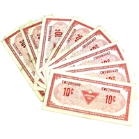 Lot of 8x 1974 Canadian Tire 10-cent Coupons with Different Prefixes (VF or Better) 8pcs