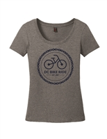 Ladies Gray Chain Logo Short Sleeve T-Shirt