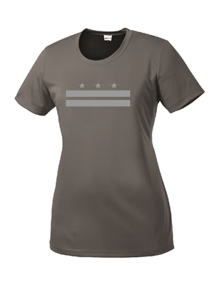 Ladies Gray Reflective DC Flag Short Sleeve Performance T-Shirt