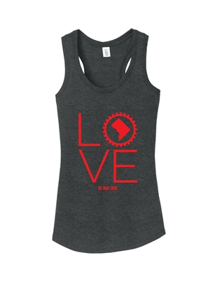 Ladies Charcoal LOVE Racerback Tank