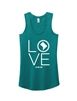 Ladies Teal LOVE Racerback Tank