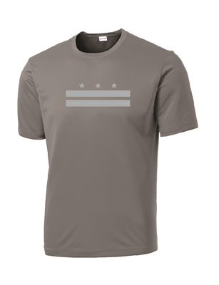 Gray Reflective DC Flag Short Sleeve Performance T-Shirt