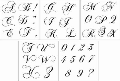 Fancy script alphabet 4 uppercase stencil set altavistaventures Image collections