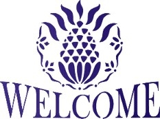 Welcome with primitive pineapple graphic