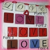 L O V E Shelf sitter Stencils -Four font choices