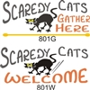 "Scaredy Cats Gather Here or Welcome 12 x 5.5"" Stencil"