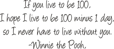 If you live to be 100 Winnie the Pooh Two size choices