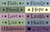 Faith Family Friends Hope Love Laugh Live Health Happiness Stencil Set
