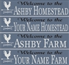 "Welcome to the ""Your Name"" Homestead or Farm Stencil Set with Alphabet"