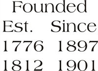 Founded Est. 1776 1897 1812 1901 Stencil Two Size Choices