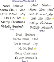 "1"" tall Christmas words on a 12 x 12"" stencil sheet.. Set includes the words...