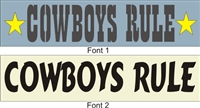 "COWGIRLS RULE design measure 23 x 4.5"" and is centered on a 24 x 5.5"" stencil sheet.