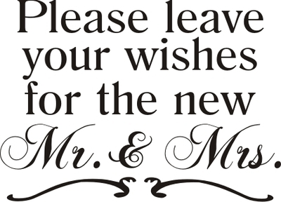leave your wishes for the new mr. and mrs. wedding stencil
