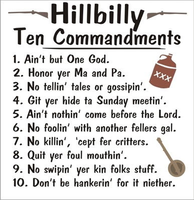 Hillbilly ten commandments stencil