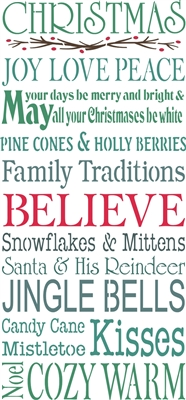 Christmas Joy Love Peace Family Traditions Believe...11.5 x 24""