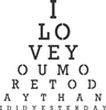 I LOVE YOU Eye Chart Style Stencil 3 Size Choices