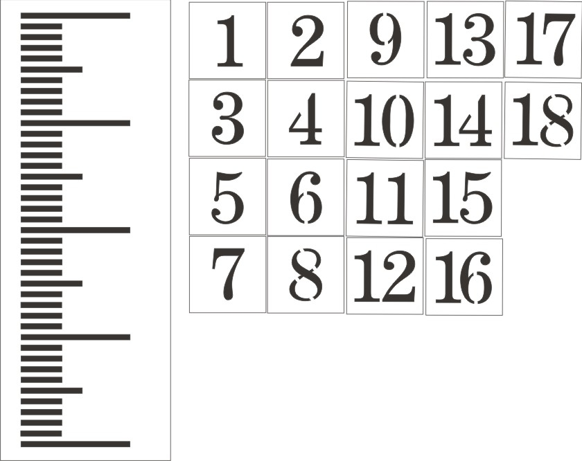 Giant Metric Ruler Stencil Set