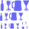 "Wine bottle, wine glass, beer mug, martini glass graphics 16 x 11.5"" Stencil"