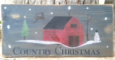 "Country Christmas with Barn scene 20 x 11.5"" Stencil Set"