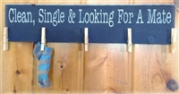 "Clean, Single & Looking For A Mate 24 x 3.5"" Laundry Stencil"